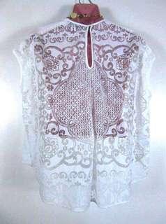 Zara lace back white cotton top