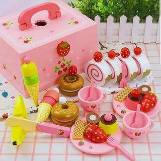 Pink Wooden Afternoon Tea Cake Dessert Ice Cream Sweets Candy Doughnuts Pudding Toy Set