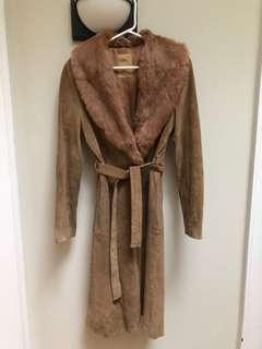 Mng suede and fur collar coat