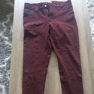 Calvin Klein Burgundy Stretchy Ankle Pants Size 6