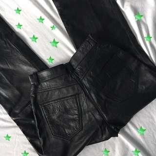 leather mom jean style pants