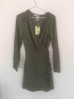Mika&Gala khaki wrap dress
