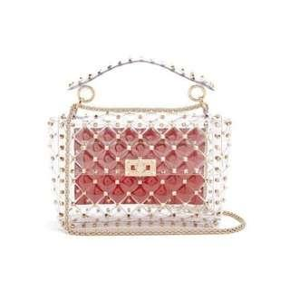 Brand New Gold Studded Rockstud Clear Vinyl Fashion Crossbody Clutch Bag