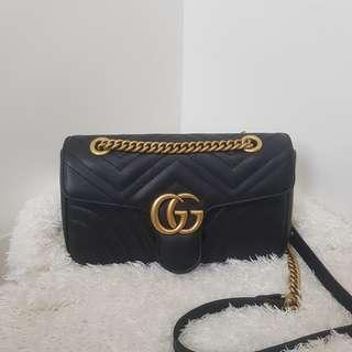 ON HAND: Authentic GUCCI Black Quilted Leather GG Marmont Small Matelasse Shoulder Bag