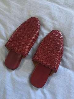 Genuine Leather Woven Mules Slides 39