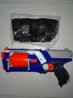 USED Nerf Elite Strongarm Blue with holster Kids Toy Hasbro TRU