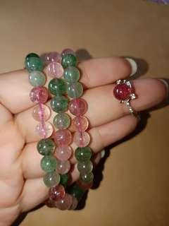 红绿草莓晶手链+戒指
