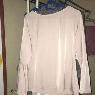 Light Pink Flare Sleeves Satin Blouse