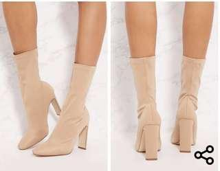Pretty little thing nude booties (size 7)