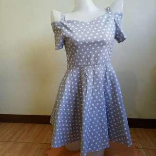 Blue Polka Dots Korean Dress