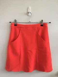 Neon pink scallop trim skirt (with pockets)