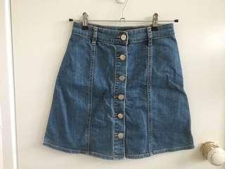 Sportsgirl denim button down skirt