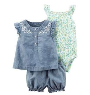 BN *18M* Chambray Denim Floral Set