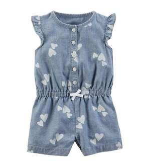 BN *18M* Chambray Denim Hearts Romper