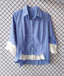 Baju atasan / kemeja garis / kemeja biru / kemeja
