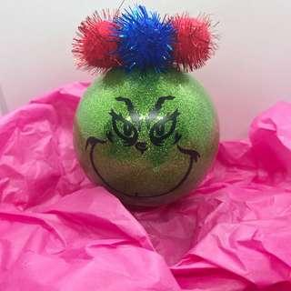 Grinch Bauble Resting Grinch Face Christmas Gift Idea Personalised