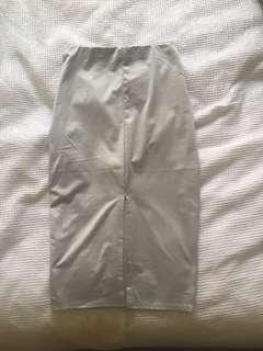 Silver midi tight skirt