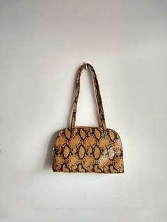 Black/Burnt Sienna Snake Skin Bag