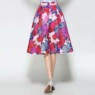 Brand new elegant colourful pink blue flare midi skirt