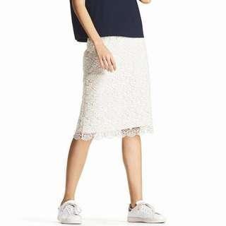 Uniqlo White Lace Midi Skirt