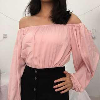 Factorie Pink Off Shoulder Top