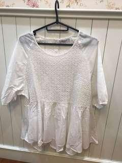 Plus Size White Crochet Babydoll Top