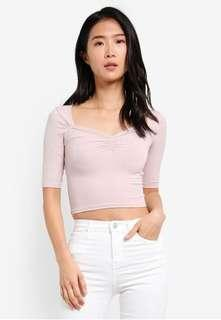 Topshop ribbed low neck top