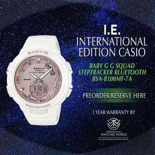 CASIO INTERNATIONAL EDITION BABY G BLUETOOTH STRPTRACKER BSA-B100MF-7A G SQUAD
