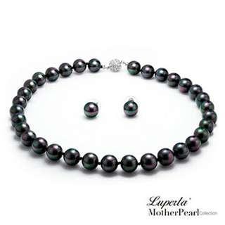 【大東山珠寶】12mm南洋貝寶珠套組(黑)   項鏈 耳環