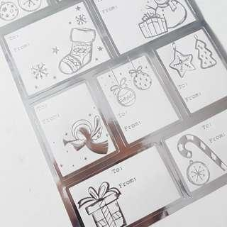 Foil gift tag stickers