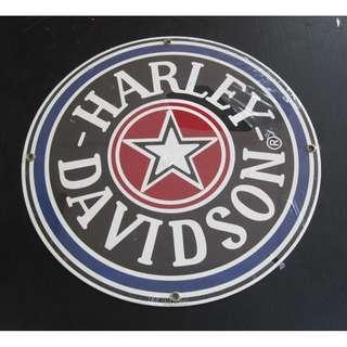 ANDE ROONEY GLASS ENAMEL HARLEY DAVIDSON SIGN FAT BOY GAS CAP