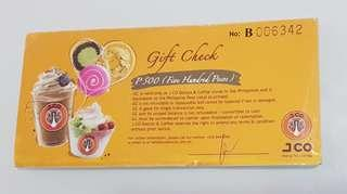 J.Co Gift Certificate only 450 per 500 denomination