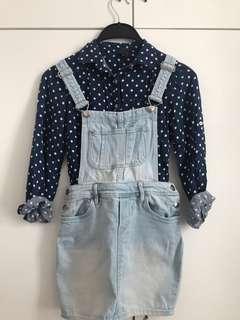 (7-8yrs) ZARA KIDS+H&M 恤衫牛仔工人群裙