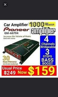 Pioneer 4 channel Car Amplifier  1000Watts.- Small Footprint - Fit below car seat .Model: GM-A6704 Usual: $219  Special $159.(Brand New in Box & Sealed)