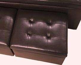 Small PU Storage Box Ottomans Dark Brown