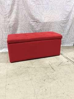 Medium Fabric Storage Bench Red