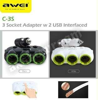 Awei C-35 Multi-Function Universal Car Charger 3 Socket Adapter with Dual USB Port Adaptor