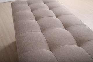 Large Storage Bench Fabric Light Brown