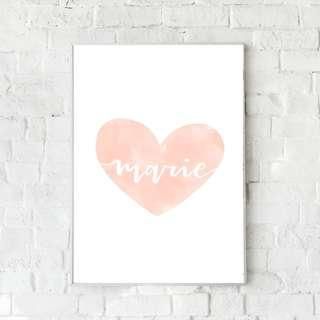 🚚 Customisable Heart Nursery Print - Pink (Girl's)