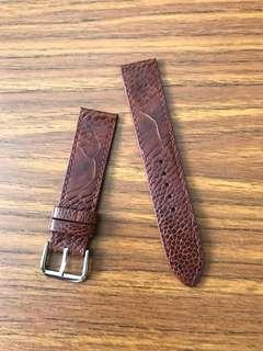 20mm/18mm Authentic Cognac Brown Ostrich Leg Watch Strap 👍🏻 Flat Unpadded strap suitable for thin profile watch etc🌟