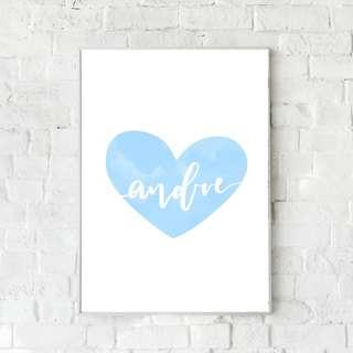 🚚 Customisable Heart Nursery Print - Blue (Boy's)
