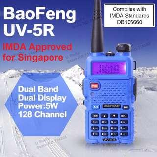 🚚 IMDA approved, limited stock!!! BaoFeng UV-5R UV5R Walkie Talkie Dual Band VHF UHF 136-174Mhz & 400-480Mhz (Blue) Long range
