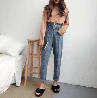 Blue Vintage High Waist Loose Mom Jeans