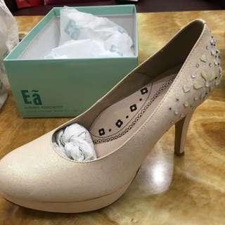 🚚 Ea 淡粉金色系婚禮高跟鞋 25號