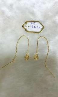 🚚 916 Gold Heart Dangling Earrings
