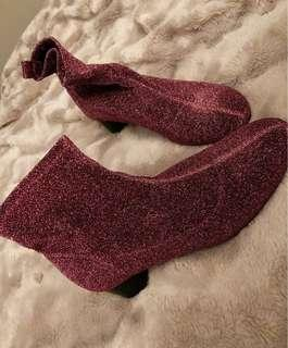 Zara Pink Sparkle Sock Booties