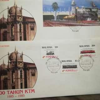 SOLD!!!! FDC: Centenary celebration of  Keretapi Tanah Melayu (2pcs)