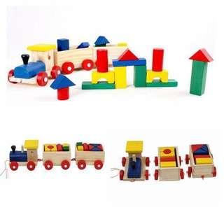 Train stacking building blocks