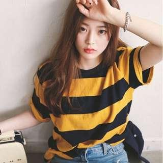 Black And Yellow Color Ladies Stripe Short Sleeve T-Shirt