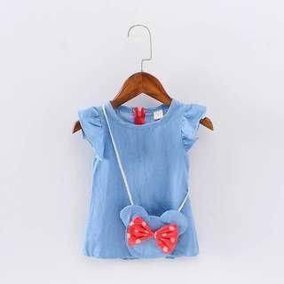 Girl Cute Denim Sleeveless Dress With sling Bow Bag